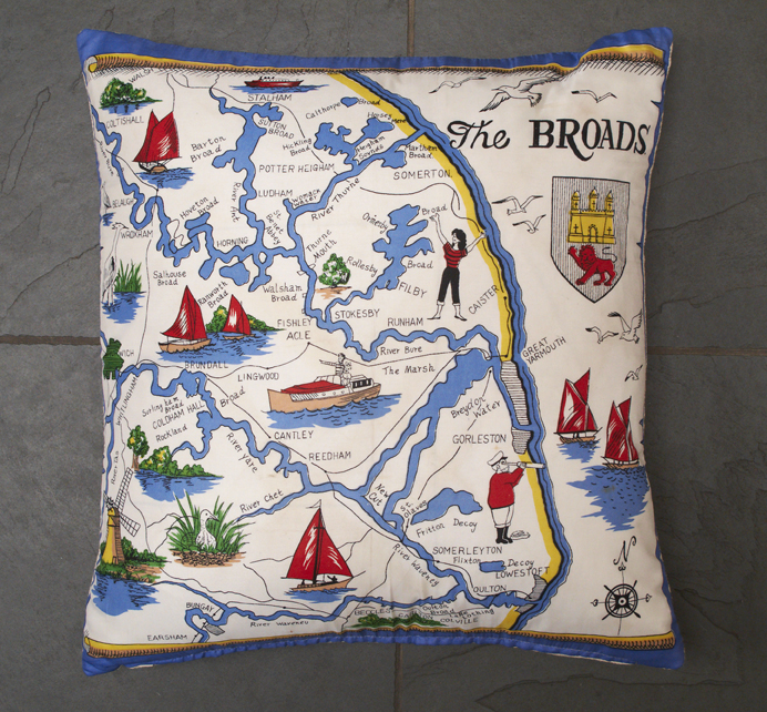 Vintage 'Norfolk Broads' Scarf Cushion